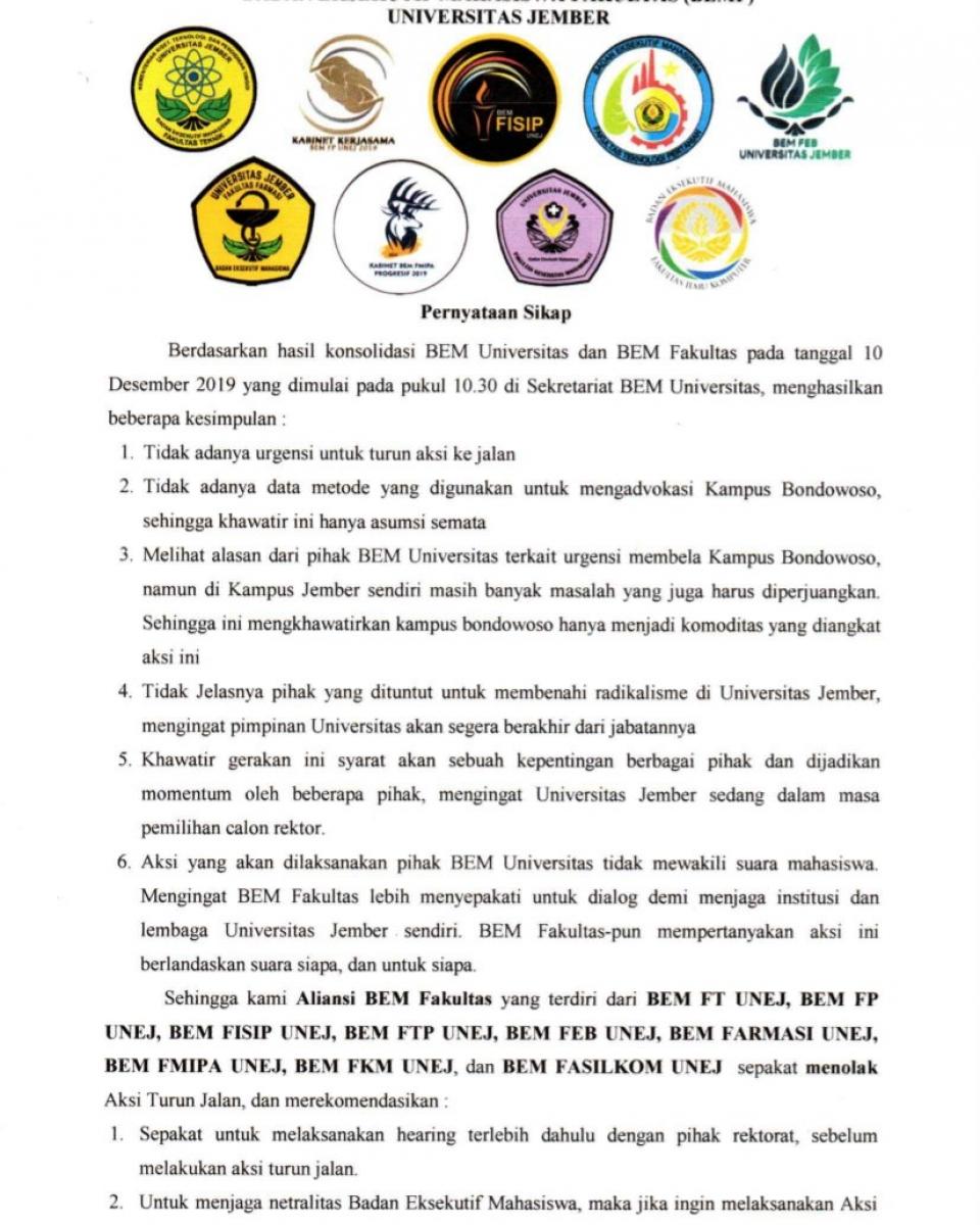 PERNYATAAN-SIKAP-BEM-FAKULTAS-UNEJ-10-Desember-2019