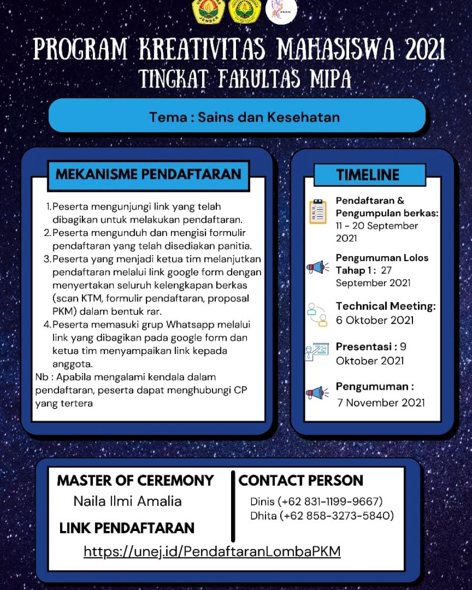Program Kreativitas Mahasiswa FMIPA 2021